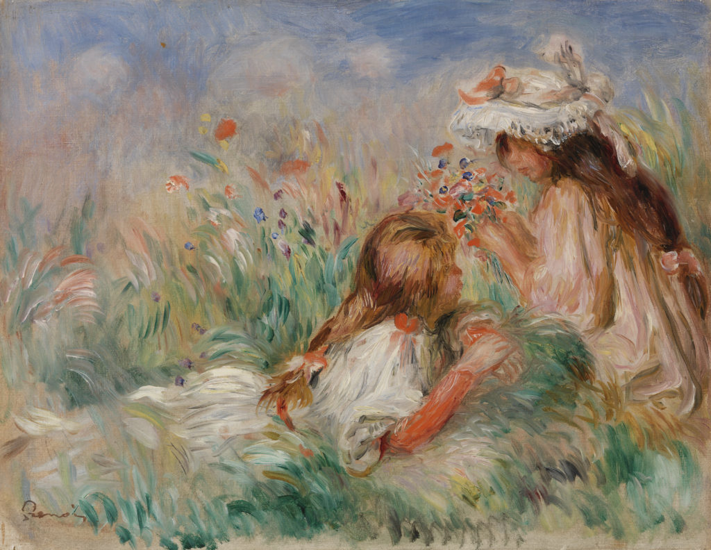 Girls in the Grass Arranging a Bouquet (Fillette couchée sur l'herbe et jeune fille arrangeant un bouquet)